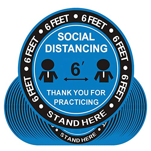 30 Pack Social Distancing Floor Decal Stickers - 8' Safety Floor Sign Marker - Stand Here Sign 6 Feet Safety Distance Apart Decal - Specialized Sticker for Crowd Control Guidance Stand Decal(Blue)
