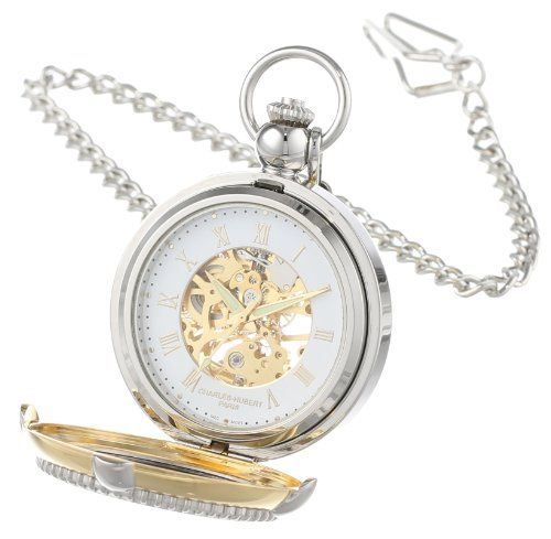 Charles Hubert 3846 Two-Tone Mechanical Picture Frame Pocket Watch: Watches