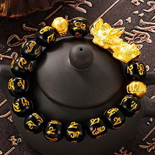 K-ONE Natural Obsidian Stone Beads Bracelets Wristband Wealth Real 24K Gold Pendant Women Men Religious Strand Bracelets