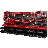 Estantería de pared con 40 soportes para herramientas y 64 cajas apilables, 1728 x 780 mm