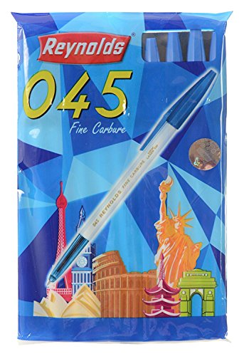 Set of 10 Reynolds 045 fine carbure Non smudge ball Point pens BLUE