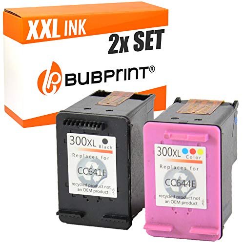 2 Bubprint Druckerpatronen kompatibel für HP 300 XL 300XL für DeskJet D1660 D2560 D2660 D5560 F2420 F2480 F2492 F4210 F4224 F4280 F4580 Envy 110 114 120 PhotoSmart C4680 C4780 Multipack
