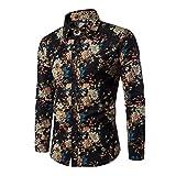 Camisa de Vestir para Hombre Camisa de Lino Estampada Funky de Manga Larga Camisa Casual Elegante Floral Tops Patrón único