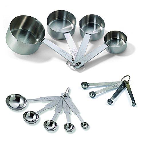 Tablecraft H726Juego de tazas medidoras para hornear, una docena, incluye cucharas medidoras, tazas de medición y cucharas para especias