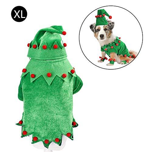 Maliyaw 2020 Neue Weihnachten Haustier Elf Kostüm, Hund Katze lustige Elf Kostüm Katze Rollenspiele Kleidung, grün