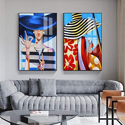 Impresión en lienzo Moda Mujer con sombrero Labios rojos Retrato Póster e impresiones Rayas Pintura en lienzo para la decoración de la barra de la sala de estar-50x70 2pcs Sin marco
