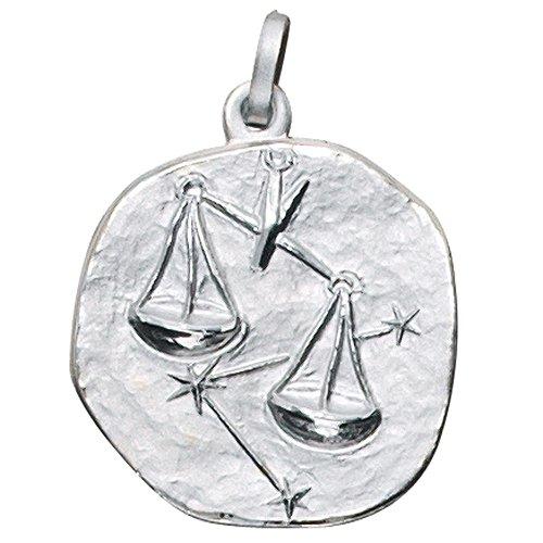 JOBO Anhänger Sternzeichen Waage 925 Sterling Silber rhodiniert teilmattiert