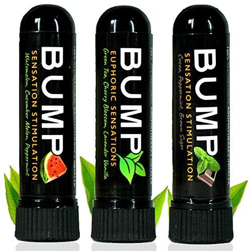 TN Scientific | Bump Aromatherapy Nasal Inhaler (3 Pack A) Essential Oils, Menthol Peppermint - Watermelon, Cucumber Melon/Green Tea, Cherry Blossom, Lavender Vanilla/Cocoa, Brown Sugar