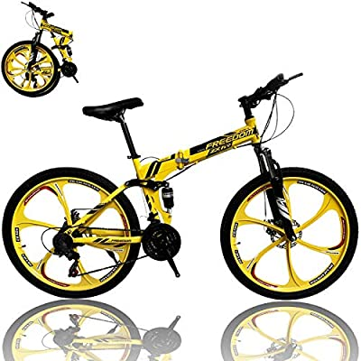 26 inch Adults Folding Mountain Bike for Men & Women High-Carbon Steel Mountain Bike Outdoor Exercise Road Bikes with 21 Speed Dual Disc Brakes Full Suspension Non-Slip (Yellow B)