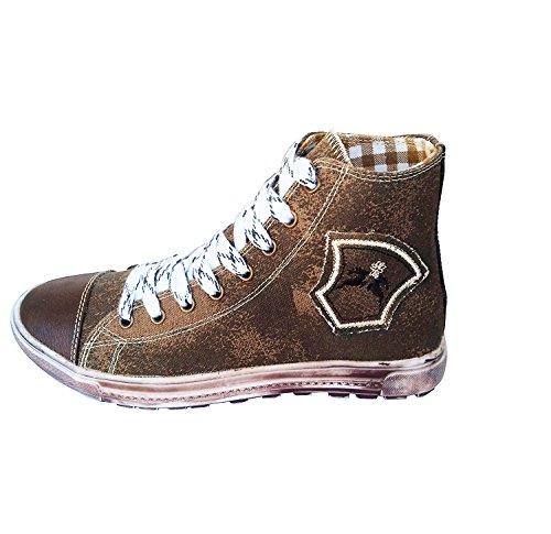 Maddox Country Trendige Jungen Sneaker Fredl Dunkelbraun aus Leinen mit Used Look Sohle, Trachten Sneakers (43)