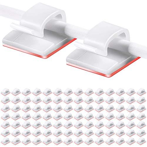 Drado Clip per cavi da 100 pezzi Clip per cavi autoadesivi Organizer per cavi per auto Gestione dei cavi Supporto per cavi adesivo per auto, ufficio e casa, adesivo bianco + trasparente Kleber