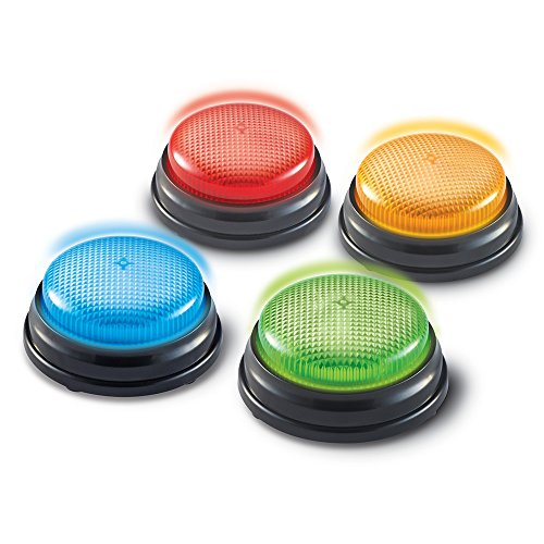 Visit the Learning Resources Lights and Sounds Buzzers, Game Show and Classroom Buzzers, Set of 4, Ages 3+ on Amazon.