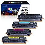 GPC Image Kompatible 203X Toner als Ersatz für HP 203X CF540X 203A CF540A für HP Color Laserjet Pro MFP M281fdw-M254dw-MFP M280nw-MFP M281fdn-M254nw-M254dn (Schwarz Cyan Gelb Magenta, 4-Pack)