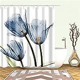 BGBG Tenda Tenda da Doccia con Stampa Tulipano Decorazione per Schermo da Bagno Tessuto in Poliestere Tenda da Doccia Impermeabile con Gancio