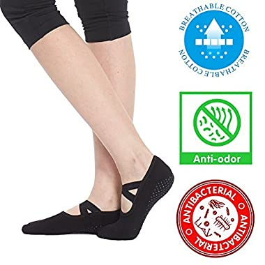 Socks for Women Non Skid Socks with Grips (Size 6-10, Ballet Straps Yoga Socks (1 pair))