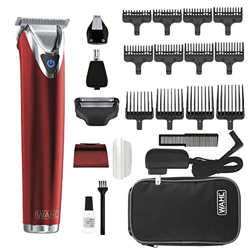 WAHL Stainless Steel Lithium Ion 2.0+ Red Beard Trimmer for Men - Electric...