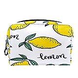 Bolsa de cosméticos Bolsa de Maquillaje para Mujer para Viajar para Llevar cosméticos, Cambio, Llaves, etc. Limones Coloridos Dibujados a Mano y Hojas Verdes