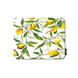 oFloral Lemon Gaming Mouse Pad Yellow Fruit Lemon White Flowers Green Leaves Branches Decorative Mousepad Rubber Base Home Decor for Computers Laptop Office Home 7.9X9.5 Inch
