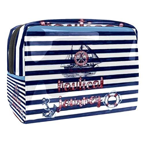Kosmetiktasche für Frauen, nautische Rettungsring, Reise-Kulturbeutel, groß, PVC, Make-up, praktischer Beutel, Organizer mit Reißverschluss