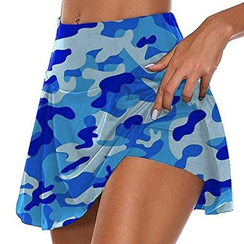 N\P Faldas de golf plisadas de camuflaje de cintura alta para mujer con pantalones cortos, azul, 48