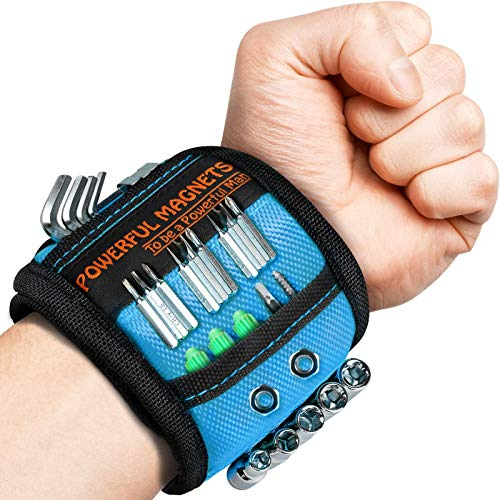 Fathers Day Gifts 2 Pack Magnetic Wristband, Stocking Stuffer for Men, Gifts for Men, Dad, Husband, Upgraded Stronger Magnetic Tool Wrist Belt Magnets, Wrist Tool Holder for Holding Screws, Nails