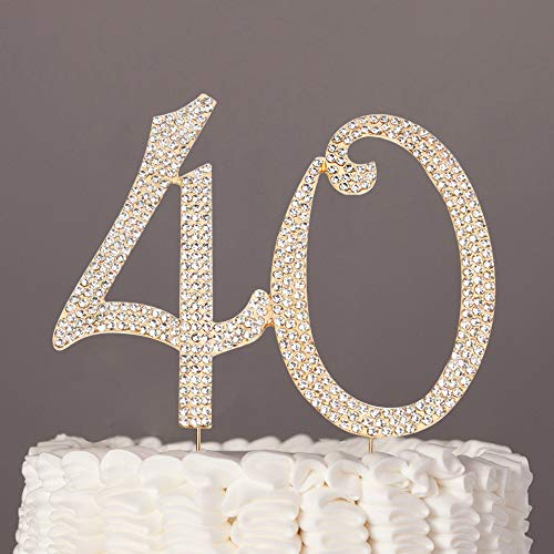 40 Cake Topper Glitter Rhinestone Cake Toppers Rose Gold Cake Decor for 40th Birthday or Anniversary Party