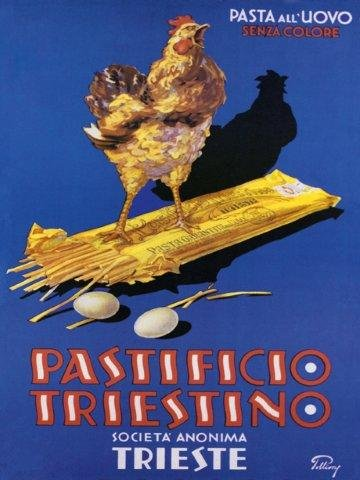 "Italian Dried Spaghetti Pastificio Triestino Chicken, Kitchen art! Italy Pasta 12"" X 16"" Image Size Vintage Poster Reproduction"