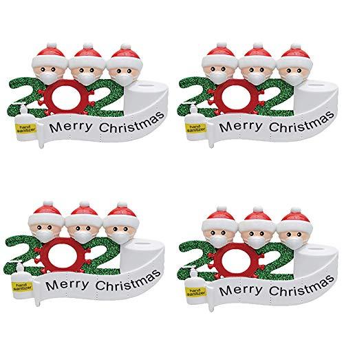 4 pegatinas para ventanas de Navidad 2020, pegatinas de pared de cristal para ventana de Navidad para el hogar, sala de estar, dormitorio, decoración de Navidad (familia de 3)