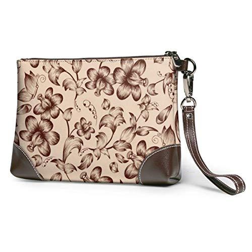 Monederos embrague teléfono carteras vintage flor cuero pequeño bolso de la pulsera