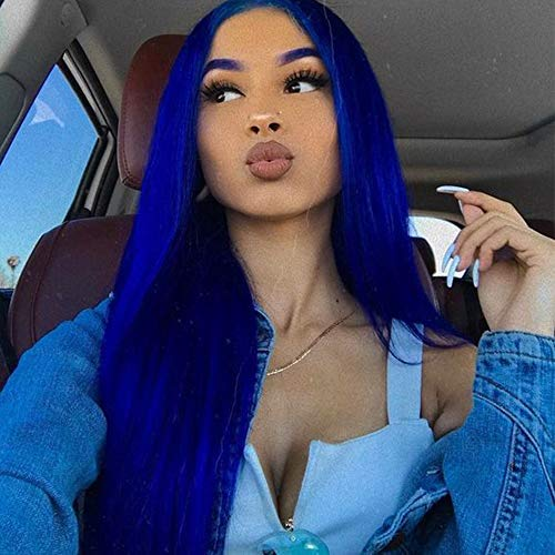 BTWTRY Synthetic None Lace Wig for Black Women Long Straight Bright Blue Color Wig Natural Gluelesss Heat Resistant Fiber (Blue, None Lace Wig)