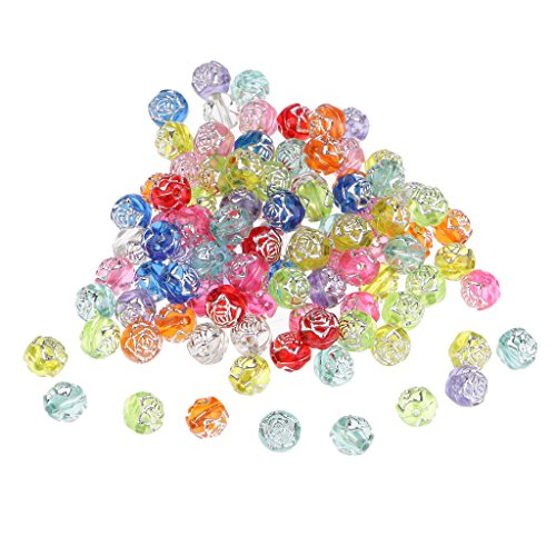 Hellery 100 Pcs Silver Line Acrylic Transparent Rose Loose Beads Spacer Beads for