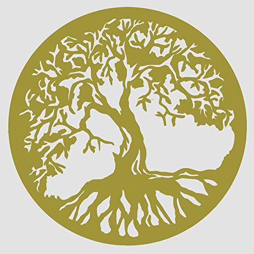 Baum des Lebens - Yggdrasil - Wandaufkleber Wandtattoo Tree of Life Sticker Aufkleber - erhältlich in vielen Farben (Gold, 60 x 60 cm)