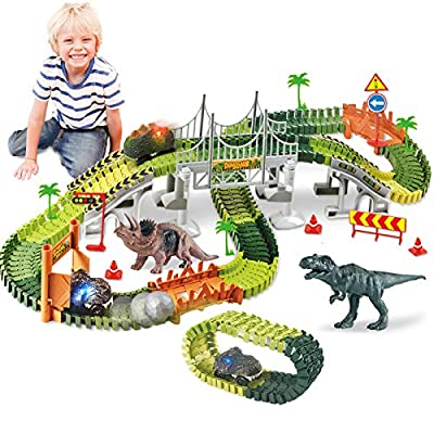 HOMOFY Dinasors Race Track Toys for 6-8 Years Old Kids 188Pcs Flexible Trains Tracks Create A Dinosaur World Dinasors Gift Toys for 4 5 6 7 8Year Old Boys and Girls