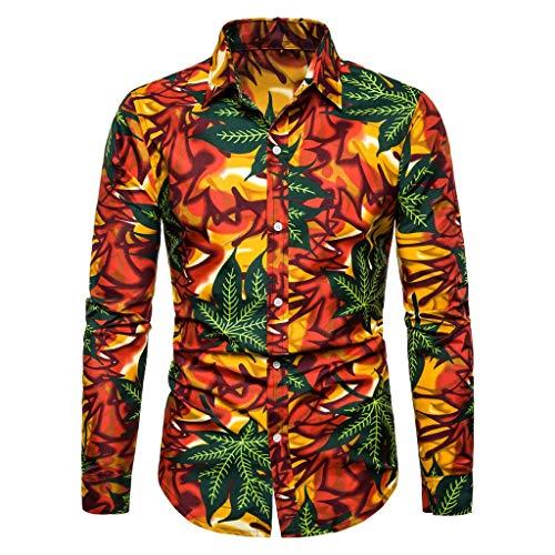 CAOQAO Camisa Hawaiana Hombre Lino Camisas Hombre Manga Larga Camisetas Slim Fit 2019 Fashion New...