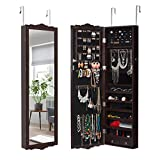 LANGRIA 10 LED Jewelry Armoire with Mirror, Lockable Wall-Mounted Over-The-Door...
