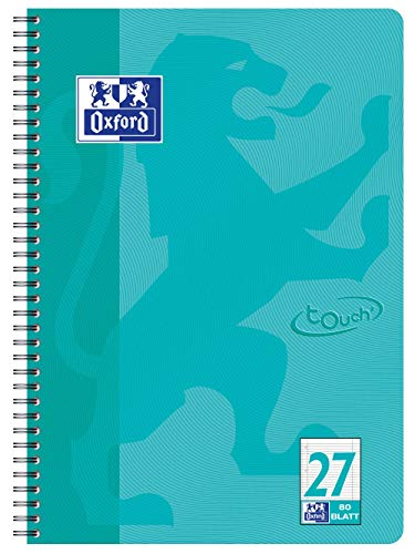 OXFORD 400086492 Collegeblock Touch im Format A4 80 Blatt liniert mit Doppelrand aqua Schreibblock Notizblock Briefblock Schulblock