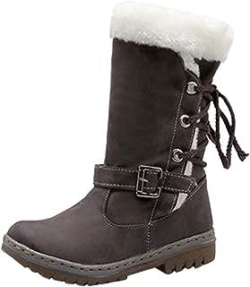 Creazrise Women's Winter Warm Fur Lined Zipper Closure Snow Knee High Wide-Calf Boots (Khaki,8)
