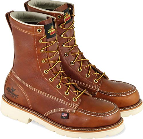 Thorogood 804-4308 Men's American Heritage 8' Moc Toe, MAXWear 90 Safety Toe Boot, Tobacco Oil-Tanned - 8 2E US