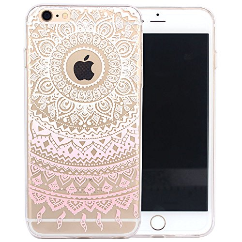 JIAXIUFEN TPU Gel Silicone Protettivo Skin Custodia Protettiva Shell Case Cover Per Apple iPhone 6 6S - White Pink Tribal Mandala