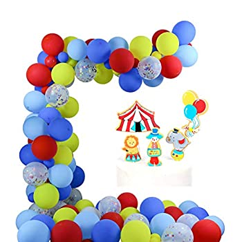 Circus Carnival Party Decorations Circus Balloons Garland Kit 80 Pcs Latex Balloons Confetti Balloon 16FT Garland Strip Set with Circus Cake Toppers for Carnival Party Supplies Baby Shower Kids Birthday Party Carnival Photo Booth Props