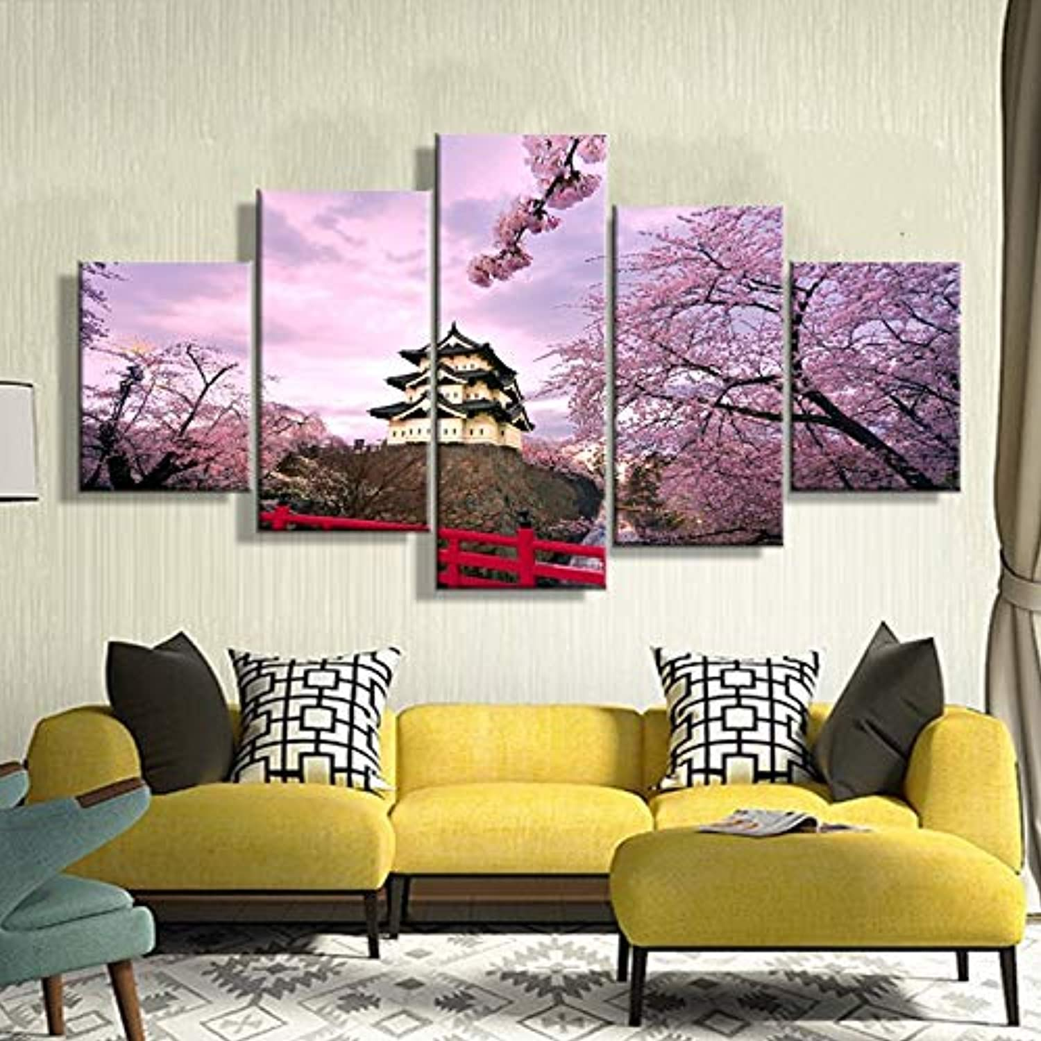Home Decoration Picture Vintage 5 Panel Cherry Blossom Japan Framework Paintings On Canvas Posters and Prints On The Wall