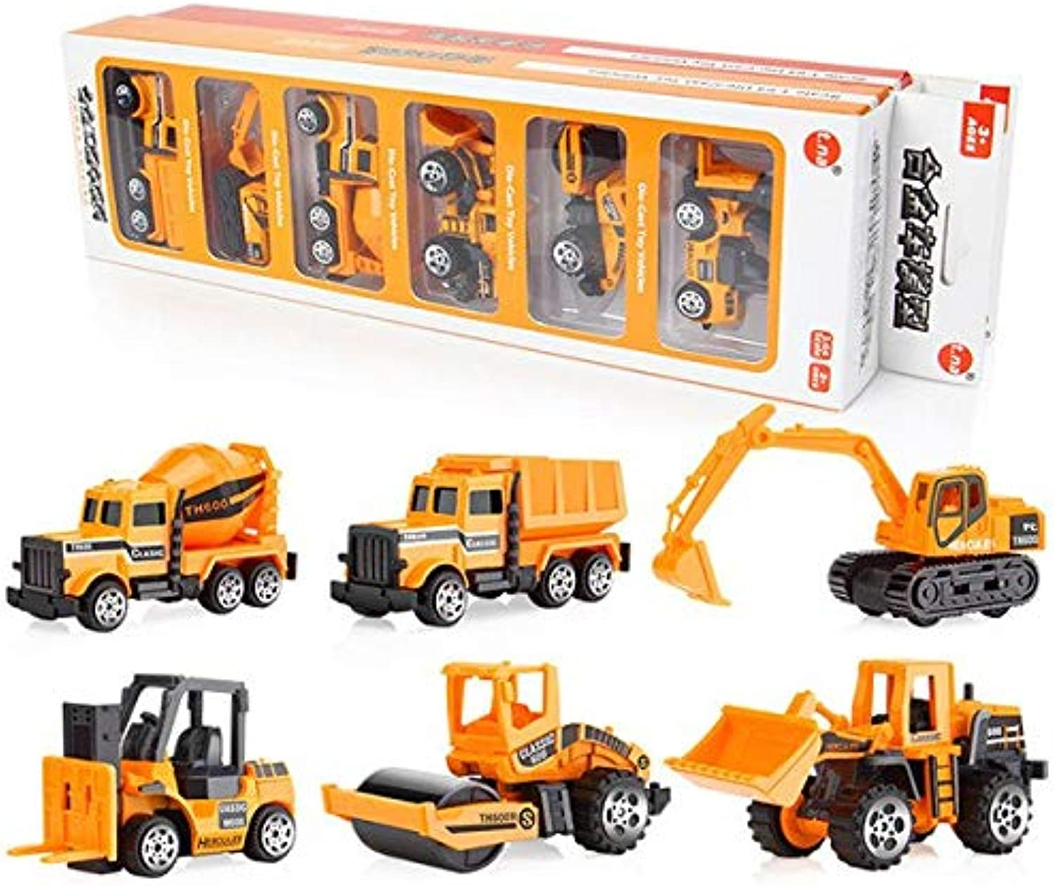 Generic 6 Types   Set Diecast Mini Alloy Construction Vehicle Engineering Car Dumpcar Dump Truck Model Classic Toy Mini Gift for boy F5 Yellow