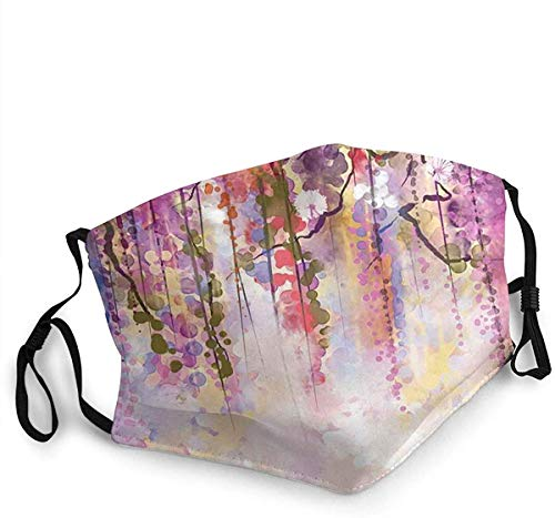 Face Mask Spring Flowers Floral Texture Print of Vibrant Japanese Garden Balaclava Unisex Reusable Windproof Mouth Bandanas Camping Motorcycle Running Made in USA