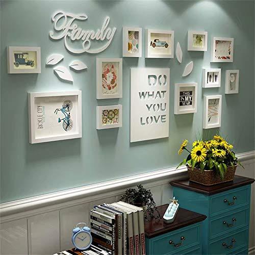 XINGXISHI Bilderrahmen Collage Brief pastoralen Schlafzimmer Wohnzimmer massivholz kreative kreative Foto Wand Ornament Rahmen Wand Fotorahmenwand (Farbe : Blau+Weiss)