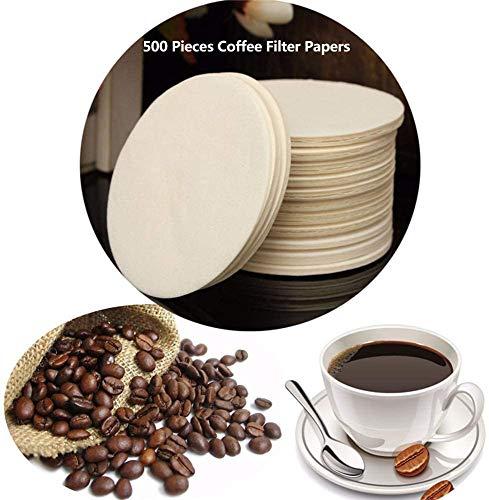 Kaffeefilter Papier, Universal Ersatz Kaffeefilter für AeroPress Kompatibel mit Kaffeemaschine, Runde ungebleichte Papierfilter, Naturbraun, 500 Stück