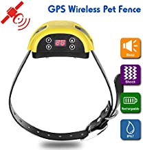 XFOX Wireless Dog Fence IP67 Waterproof Electric Pet Training Collar GPS E Containment System for Dog Adjustable 800 Meters Range Rechargeable Pet Boundary Container for Outdoor