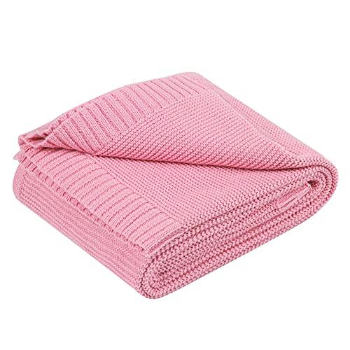 YOOFOSS Manta de Punto para Bebés de Algodón 80x100 cm Mantas Punto de Crochet Cobija Mantitas Suave y Confortable Cálida Recién Nacido niña niño Rosa