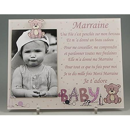Cadre Photo - modèle Rose pour Marraine – (Cadeaux originaux pour Parrain Marraine - Baptême, Anniversaire, Noël.)