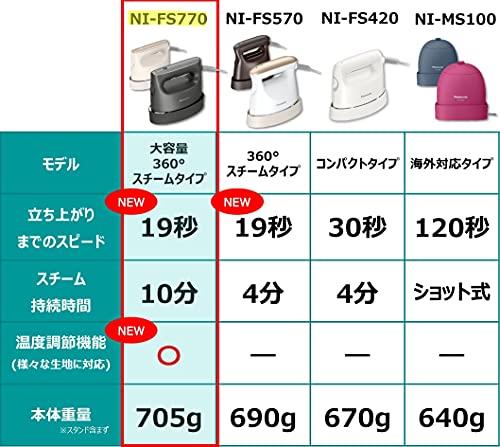 パナソニック衣類スチーマー360°スチーム大容量タイプダークグレーNI-FS770-H