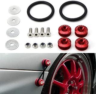 iJDMTOY Universal Fit Red Finish JDM Quick Release Fastener Kit For Car Bumper Trunk Fender Hatch Lid